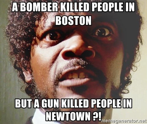 Mad Samuel L Jackson - a bomber killed people in boston but a gun killed people in newtown ?!