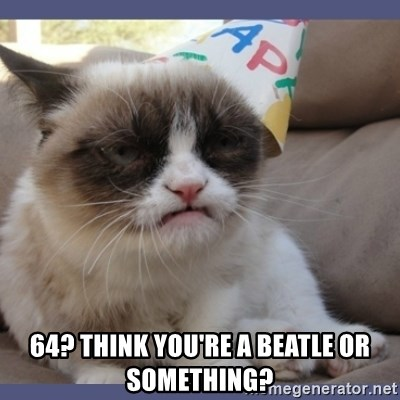Birthday Grumpy Cat -  64? Think you're a beatle or something?