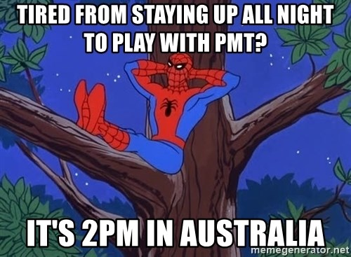 Spiderman Tree - tired from staying up all night to play with PMT? it's 2pm in australia