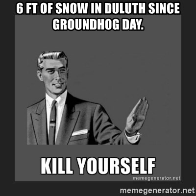 kill yourself guy - 6 FT of snow in duluth since Groundhog day.