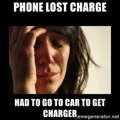 todays problem crying woman - phone lost charge had to go to car to get charger