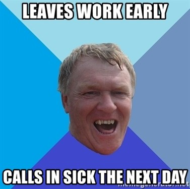 YAAZZ - leaves work early calls in sick the next day