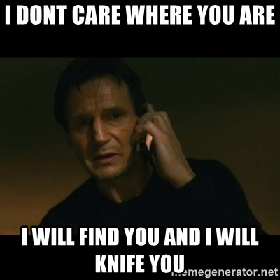 liam neeson taken - I Dont care Where you are  I will find you And I will Knife you