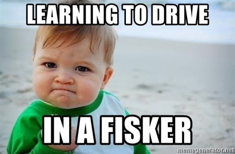 fist pump baby - Learning to drive In a fisker