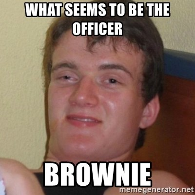 Really highguy - What seems to be the officer BROWNIE