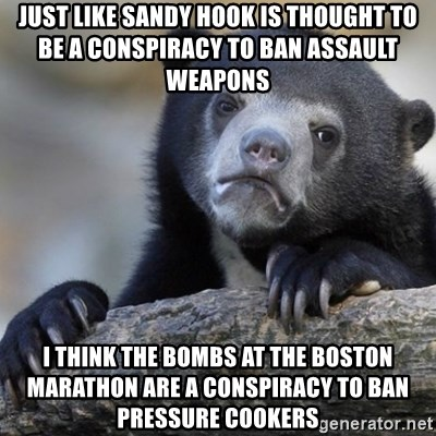 Confession Bear - just like sandy hook is thought to be a CONSPIRACY to ban assault weapons  i think the bombs at the boston marathon are a CONSPIRACY to ban pressure cookers