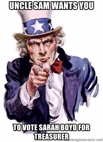 Uncle Sam Says - uncle sam wants you to vote sarah boyd for treasurer