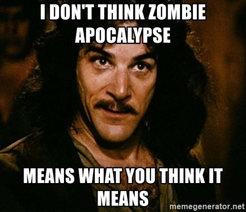 Inigo Montoya - i don't think zombie apocalypse means what you think it means