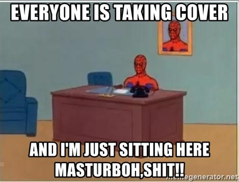 Spiderman Desk - everyone is taking cover and i'm just sitting here masturbOH,SHIT!!
