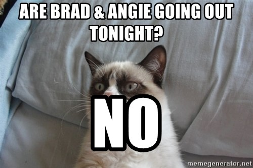 Grumpy cat 5 - Are brad & angie going out tonight? no