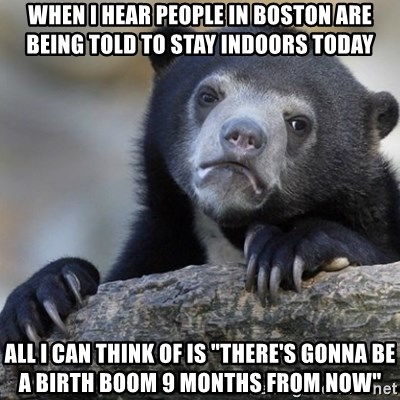 """Confession Bear - When I hear people in boston are being told to stay indoors today All I can think of is """"There's gonna be a birth boom 9 months from now"""""""