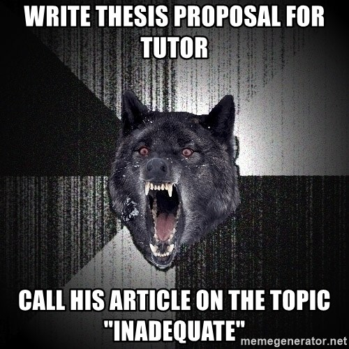 "Insanity Wolf - write thesis proposal for tutor call his article on the topic ""inadequate"""