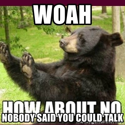 How about no bear - woah nobody said you could talk