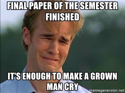 Crying Man - Final paper of the semester finished It's enough to make a grown man cry