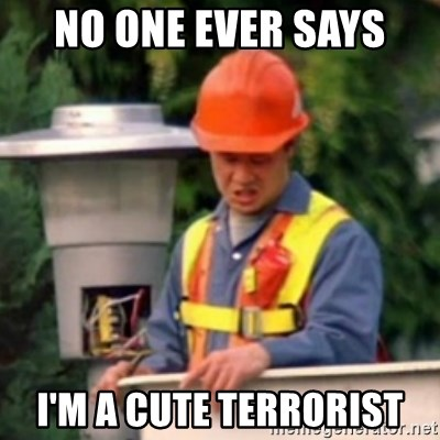 No One Ever Pays Me in Gum - no one ever says  I'm a cute terrorist