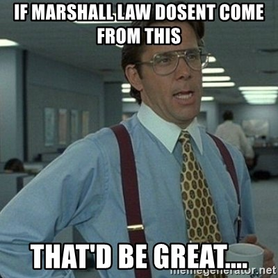 Yeah that'd be great... - if marshall law dosent come from this that'd be great....