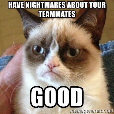 Grumpy Cat  - have nightmares about your teammates good