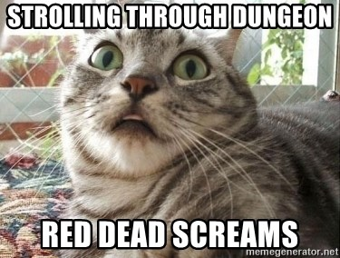 scared cat - strolling through dungeon red dead screams