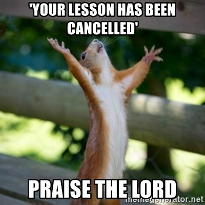 Praising Squirrel - 'your lesson has been cancelled' praise the lord