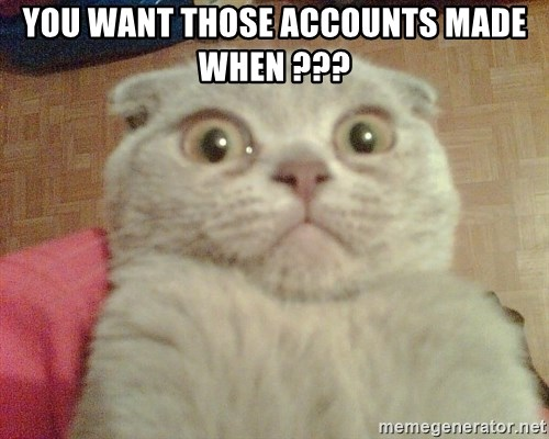 GEEZUS cat - You want those accounts made when ???