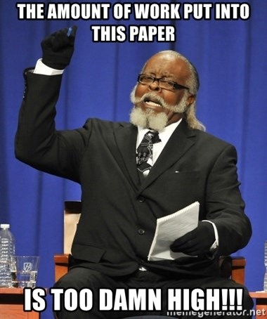 Rent Is Too Damn High - The amount of work put into this paper is too damn high!!!