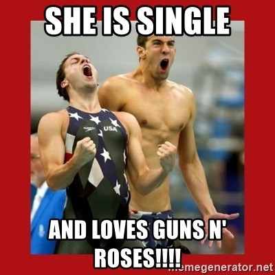 Ecstatic Michael Phelps - She is single and loves guns n' Roses!!!!