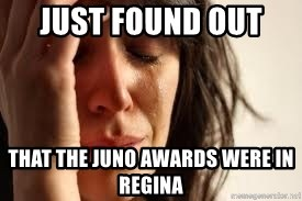 Crying lady - Just found out  that the juno awards were in regina