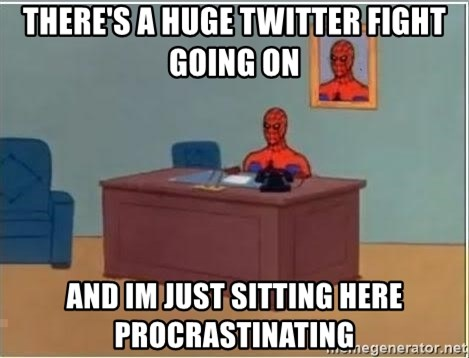 Spiderman Desk - There's a huge twitter fight going on and im just sitting here procrastinating