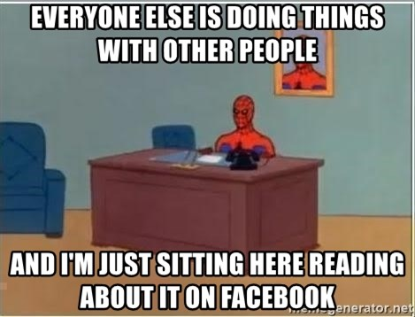 Spiderman Desk - Everyone else IS doing things with other people and I'm just sitting here reading about it on facebook