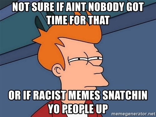 Futurama Fry - not sure if aint nobody got time for that or if racist memes snatchin yo people up