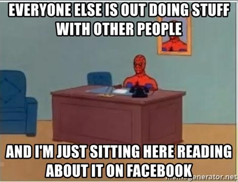 Spiderman Desk - Everyone else is out doing stuff with other people and I'm just sitting here reading about it on Facebook