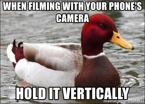 Malicious advice mallard - When filming with your phone's camera hold it vertically