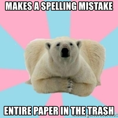 Perfection Polar Bear - makes a spelling mistake entire paper in the trash