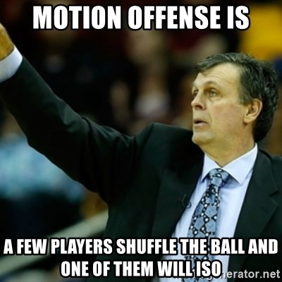 Kevin McFail Meme - Motion Offense is a few players shuffle the ball and one of them will ISO