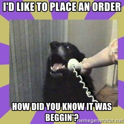 Yes, this is dog! - I'd like to place an order How did you know it was Beggin'?