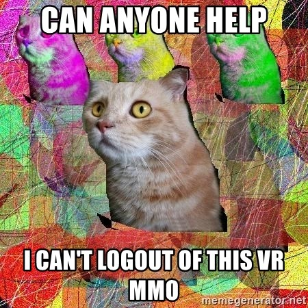 A Cat - can anyone help I can't logout of this vr mmo