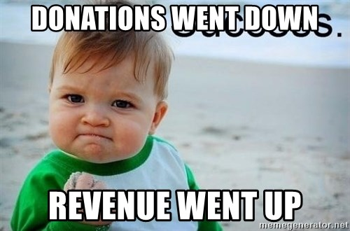 success baby - Donations went down Revenue went up