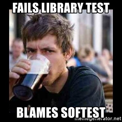 Bad student - Fails library test blames Softest