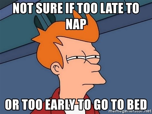 Futurama Fry - Not sure if too late to nap or too early to go to bed