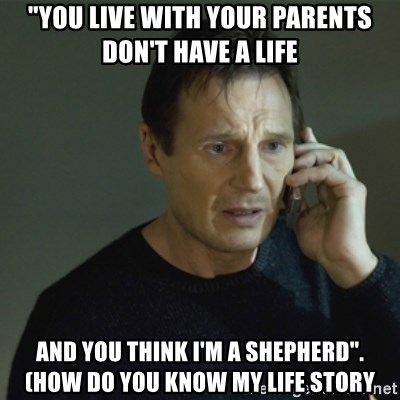 "I don't know who you are... - ""You lIve with your parents don't have a life and you think I'm a shepherd"".   (how do you Know mY life stOry"