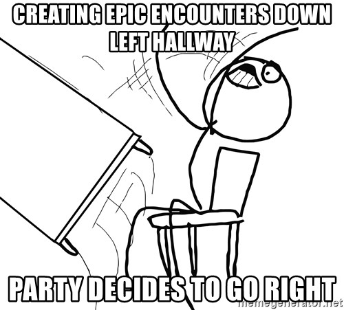 Desk Flip Rage Guy - Creating epic encounters down Left hallway Party decides to go right
