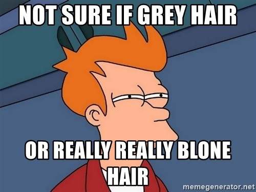 Futurama Fry - Not sure if grey hair or really really blone hair