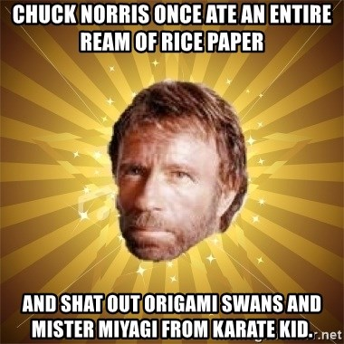 Chuck Norris Advice - Chuck Norris once ate an entire ream of rice paper and shat out origami swans and Mister Miyagi from Karate Kid.