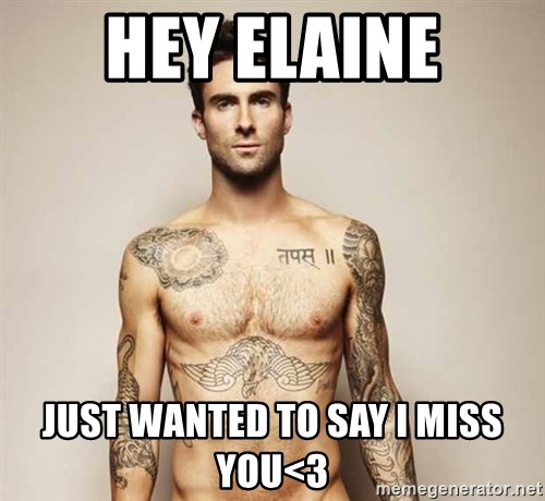 Adam Levine - HeY Elaine Just wanted to say I miss you<3