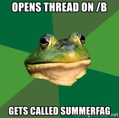 Foul Bachelor Frog - opens thread on /b gets called summerfag