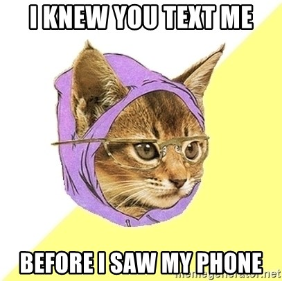 Hipster Kitty - I knew you text me Before I saw my phone