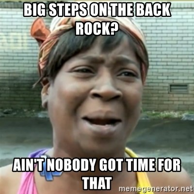 Ain't Nobody got time fo that - Big Steps on the back rock? ain't nobody got time for that