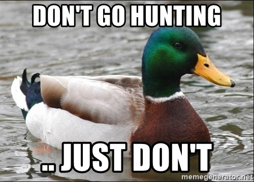 Actual Advice Mallard 1 - Don't go hunting .. Just don't