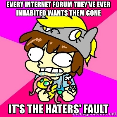 rabid idiot brony - EVERY INTERNET FORUM THEY'VE EVER INHABITED WANTS THEM GONE IT'S THE HATERS' FAULT