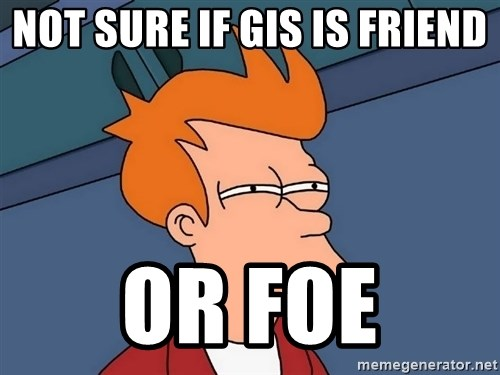 Futurama Fry - Not sure if GIS is Friend Or foe